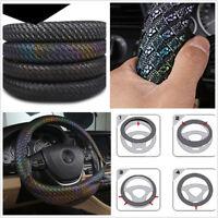 1 X Luxury Colorful PU Leather 38cm Car Anti Slip Breathing Steering Wheel Cover