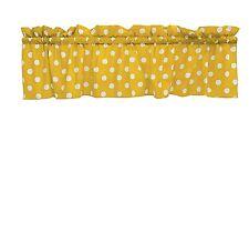 lovemyfabric Cotton White Polka Dots Design Kitchen Curtain Valance-Yellow