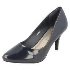 Ladies Spot on Patent Court Shoes F9905 5 UK Navy Standard