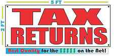 TAX RETURNS Red on White Banner Sign NEW 2X5
