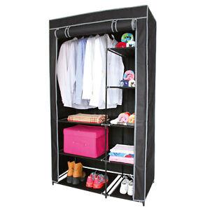 Large Fabric Canvas Wardrobe 170cm Portable Clothes Rail Shelf Storage Cupboard