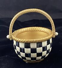 New ListingMackenzie Childs Small Basket Courtly Check Black & White & Gold New In Box