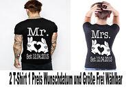 T Shirt Mr & Mrs Motiv Partner Look Pärchen Top Shirts Love 2 Stück XS - 5XL New