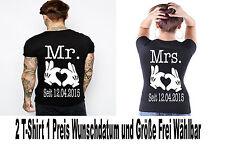 Mr Mrs T Shirt 2 Stück Partner Look Relationship Pärchen Couple XS bis XXXXL