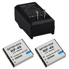 2x 1500mAh Batería + Cargador para NP-40 Casio EX-Z30/Z40/Z50/Z55/Z57/Z750 EX-P505