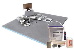 Wet room Kit Wetroom 1200mm x 800mm Rectangular Walk in Shower Tray Base Drain