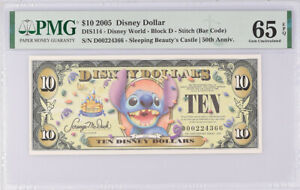 "Disney 10 Dollars 2005 Stitch 50th Disneyland Series ""D"" Gem UNC PMG 65 EPQ"