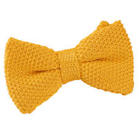 Marigold Yellow Boys Pre-Tied Bow Tie Knit Knitted Plain Formal Necktie by DQT