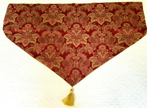"""Croscill Ascot Valance paisley floral tassel burgundy red gold 39""""x24"""" set of 2"""
