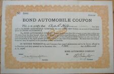 BOND Automobile Co./WAHL Car 1924 Coupon/Certificate for Auto Purchase
