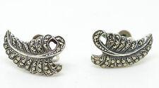 Vintage Silver Marcasite Leaf Screw Fitting Earrings
