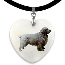 Clumber Spaniel Natural Shell Mother Of Pearl Heart Pendant Necklace Chain PP219