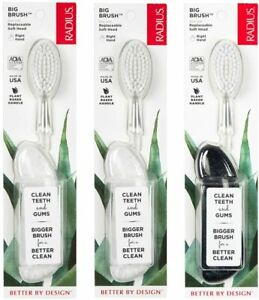 Radius Toothbrush Big Brush, Right Hand - 3 Pack in Assorted Colours   BPA Free