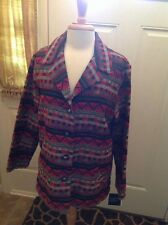 Sag Harbor Tribal Print Long Sleeve Jacket Career Size Women 16