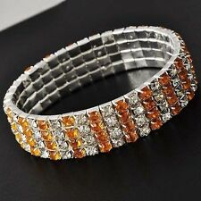 Charm Womens White Gold Filled Silver Crystal Stretch Chain Tennis Bracelet
