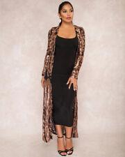 UK Women Floral Sequin Long Kimono Open Front Cardigan Jacket Cape Coat Cover Up