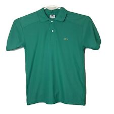Lacoste Mens Small Green Short Sleeve Embroidered Large Logo Polo Collared Shirt