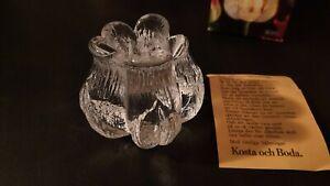 ROSEBUD Candle Holder Kosta Boda Crystal MATS JONASSON Rosenknopp SWEDEN w/ Box