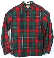 LL Bean Traditional Fit Men Long Sleeve Flannel Shirt Lg Plaid Check Red Green