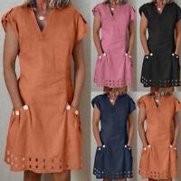 Women Summer Casual Beach Ruffled Pockets Lace Shift Button Linen Dress 2019