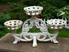 Antique Cast Iron Pierrot Harlequin Minstrel 3 Arm Plant Stand Holder Display