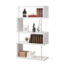 Coaster Asymmetrical Snaking Bookshelf In White Transitional Bookcase
