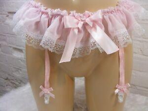 Sissy Rose Mousseline Porte-Jarretelles Hommes Lingerie Culotte Tout Tailles