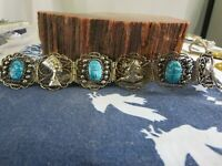 Egyptian Revival Turquoise Color Pottery Scarabs Silvered Metal Bracelet RP5