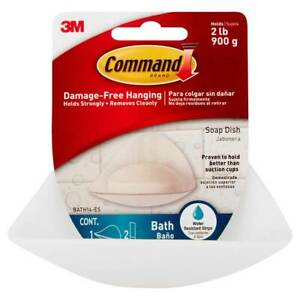3M BATH14 Command Soap Dish Bath Adhesive Damage Free Hanging Plastic, Frosted