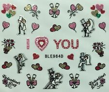 Nail Art 3D Glitter Decal Stickers I Love You Valentine's Day Wedding BLE964D