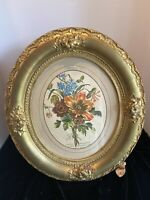 ANTIQUE OVAL WOOD GILDED GOLD FRAME Floral Engraving After Louis Tessier Avril 5