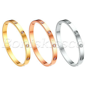 "Women's Zircon Stainless Steel Bangle Bracelet Wristband Jewelry Size 6.7"""