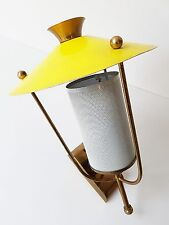 MATEGOT : APPLIQUE JAUNE TOLE PERFOREE 1950 VINTAGE 50's ROCKABILLY WALL LIGHT