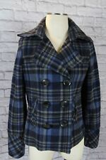 $100+ AEROPOSTALE PLAID PEACOAT JACKET Junior size small, wool, blue plaid top