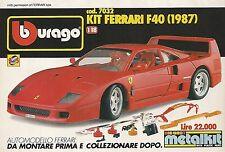 X0073 Kit Ferrari F40 - BBURAGO - Pubblicità 1992 - Vintage Advertising