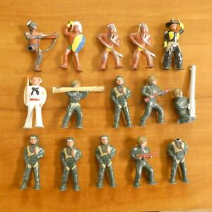 Vintage Mix Lot of Lead Soldiers Barclay England Cowboys Indians WW2 Soldiers