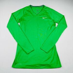 Nike Pro Combat Shirt Womens Medium Fitted Green Long Sleeve T Shirt Tee V Neck