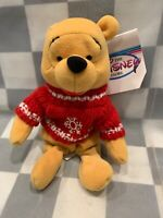 "Winnie The Pooh SNOWFLAKE SWEATER Disney 8"" Plush Bean Bag Toy Animal NEW"