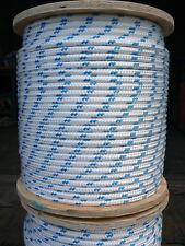 "NovaTech XLE Halyard Sheet Line, Dacron Sailboat Rope 3/8"" x 100' White/Blue"