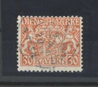 Bayern Dienst Mi.Nr. 22w, 30 Pfg. Freimarke gestempelt, geprüft BPP (24195)