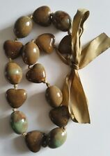 Vintage 1980s Ceramic Handstrung Necklace Hearts & Oval  Beads on Ribbon