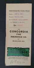 Fire Insurance Policy  Concordia Fire Insurance Co.  Milwaukee Wisconsin 1911