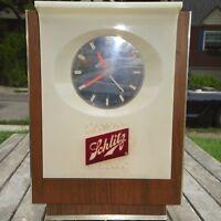Vintage 60's Schlitz Clock Hands Floating Lighted Bar Pub Tavern Sign Mancave