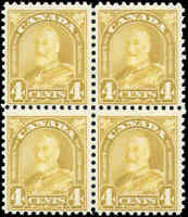 Mint H/NH Canada Block of 4 1930 F Scott #168 King George V Arch/Leaf Stamps