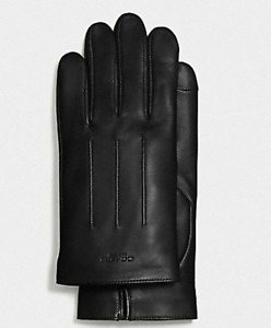NWT Coach MENS Tech Gloves Black Leather Wool Lined Size L Large F54182 $130.00