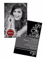 Graduation Swirl & Tag Photo Invitation Announcement 10 Invitations Any Color
