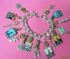 """ WORLD TRAVELER"" -ART DECO TRAVEL POSTERS CHARM BRACELET - HAND MADE"