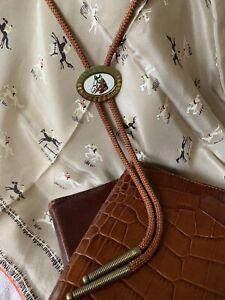 Vintage Southwestern Bolo Tie Horse Head Enamel Black White & Red