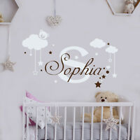 Girl Name Wall Decal Monogram Decal Bear Sticker Nursery Room Decor Art MM31