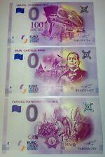 3x 0 euro souvenir  - Mix UNC - TUAE/TUAL/ROAA - 3 pcs - DIFFERENT SERIAL